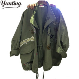 3f14abad2d7 New 2018 Military Style Spring Jacket Women Plus Size XL-5XL Casual  Embroidery Long Sleeve Loose Coats Female Jacket Y18102501