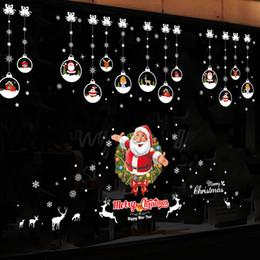 Puertas de vidrio del armario online-DIY 3D Pegatinas de Navidad. Santa Claus Hogar Escuela Tienda Alacenas Ventanas Puertas Vidrio Etiqueta de la pared Feliz Navidad Feliz Año Nuevo Decoración