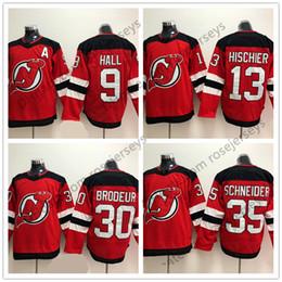 Wholesale 35 L - New Jersey Devils #13 Nico Hischier 9 Taylor Hall 30 Martin Brodeur 35 Schneider Blank Red 2018 Brand Mens Womens Youth Kids Hockey