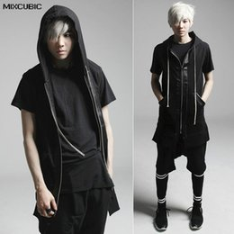 Wholesale waistcoat for men styles - MIXCUBIC Autumn England style Costumes hair stylist Stitching hooded vest men casual slim Splicing Waistcoat for men size M-XL