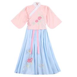 niñas vestidos estilos de bordado Rebajas Bordado Floral Niñas Hanfu Traje de Traje Vestido de Princesa Antigua de Estilo Chino Ropa de Cosplay Ropa de Rendimiento de Danza