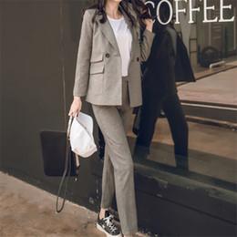 Wholesale Woman Korean Short Pants - 2017 Women 2 Two Piece Sets Short Gray Solid Blazer + High Waist Pant Office Lady Notched Jacket Pant Suits Korean Outfits Femme