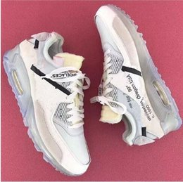 Wholesale Icing Shoes - 2018 High quality Off x 90 Ice Blue 10X Sports Running Shoes for Men's Maxes 90s Whites Outdoor Fashion Sneakers Size 40-46 Free Shipping