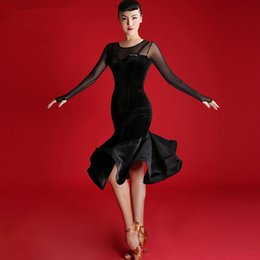 298f50ac21f7d9 Adult Girls Latin Dance Dress Salsa Tango Cha cha Ballroom Competition practice  Dance Dress Black sexy slim long sleeve velvet Dress T004