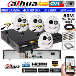 Wholesale Wired Cctv Dome Cameras - Dahua 4MP waterproof camera HAC-HDW2401EMP Security CCTV dome camera 4CH DH-HCVR7104H-4M IR CVI camera kit HDD with 20m wire