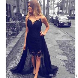 Wholesale Strapless Chiffon Sweetheart Evening Dress - 2018 Prom Dress Black Overskirts Cocktail Dresses with Detachable Train Black Lace Sweetheart Evening Gown Formal Dress Knee Length