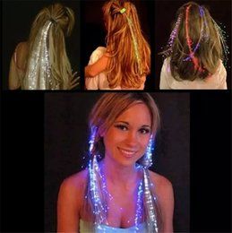 Wholesale fiber optic hair extensions wholesale - Luminous Light Up LED Hair Extension Flash Braid Party girl Hair Glow by fiber optic For Party Christmas Halloween Hair Clip Night Lights