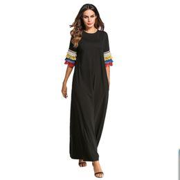 Vestidos de escritório mulheres on-line-Plus size mulheres europa moda tassel manga muçulmano robe bodycom boho abaya escritório vestido de baile longo maxi vestidos drop ship