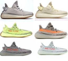 Wholesale outdoor shoes women - 2018 Sesame Butter ice yellow 36-48 350 v2 designer shoes Blue tint 350 V2 Sply Black Red BY9612 350 Men Women Running Shoes