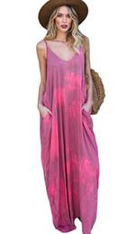 Модный галстук онлайн-VOGUE платье, макси платье уникальный галстук краситель сексуальный слинг V воротник без рукавов карман длинное платье.