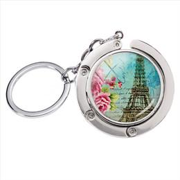 girls paris Australia - BH-003 New Fashion Vintage Eiffel Tower Paris Love France Glass Round Cabochon Bag Hanger Keychain Hand Craft Silver Metal Keyrings
