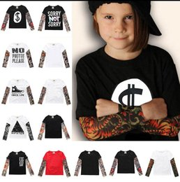 Wholesale Tattoo Sleeve Children - baby boys girls T Shirts Tattoo Pattern Sleeve children Cotton letter t shirts Tops Kids Casual Tops Tee KKA4801
