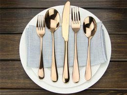 Wholesale Plated Flatware - High-grade Flatware Set Black Rose Gold Stainless Steel Plated Dinnerware Mirror Polishing Cutlery 5-Piece Romantic Tableware wn115