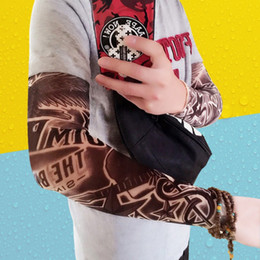 Wholesale tattoo color arms - Hot 2 Pcs lot Punk Men Women UV Sunscreen Skull Theme Fake Tattoo Sleeves Arm Warmers (Color: Multicolor) Popular