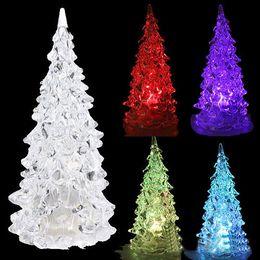 Wholesale Led Fiber Optic Christmas Trees - Colorful LED Fiber Optic Night Light Mini Christmas Tree Lamp Children Xmas Gift