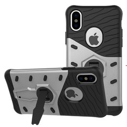 Wholesale heavy duty mobile - For iPhone X PC Silicone Drop-resistant Kickstand Heavy Duty Back Cover Case For Galaxy S7 note 8 LG X MAX Mobile Phone Shell Cover opp bag