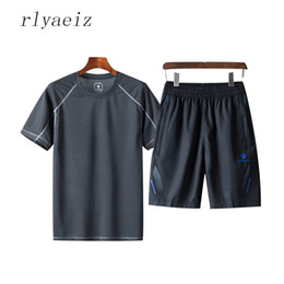 Wholesale mens casual sweat suits - Rlyaeiz Plus Size 5XL Sporting Suit Men 2018 Casual Sweat Suit Summer Set Mens Fast Drying Pure Color Tshirts + Shorts Tracksuit