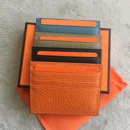 Mini bolso titular do cartão de crédito on-line-Nova 2018 marca de couro genuíno macio 6 slots de cartão e 1 bolso da moeda moda Men Mini carteira id titular do cartão de crédito caso carteira masculina