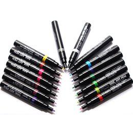 2019 desenhos de caneta de gel Chegada nova Nail Art Pen Pintura Ferramenta de Design 16 Cores Opcional Desenho Gel Feito Fácil DIY Nail Tool Kit nail art ferramentas de pontilha ...