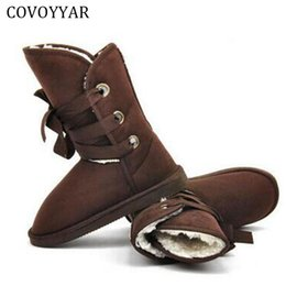 Wholesale Women Wearing Fur Heels - COVOYYAR 2017 Two Wear Snow Boots Winter Warm Lace Up Ankle Women Lady Boots Fur Padded Fashion Flock Woman Shoes Size 40 WBS568