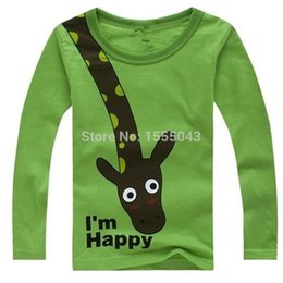 Wholesale Giraffe Baby Clothes - HOT SALE NEW 2017 Long Sleeve Giraffe I'm Happy Kids Boys T-shirt Top Long Sleeve Clothing casual baby clothing