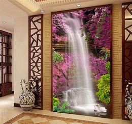 Wholesale Vintage Pink Kitchen - Photo Wallpaper Beautiful Waterfall Swan Pink Flower Backdrop Wall Mural Hotel Lobby Living Room Entrance Decor Papier Peint 3D