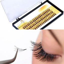 Wholesale Eyelash Extension Single - 3D False Eyelashes 6-14mm Individual Lashes Feather Plastic Cotton Stalk Single Cluster Planting Russian Premade Volum Eyelashes Extensions