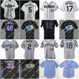 Wholesale game worn jersey - Stitched Tampa Bay Devil Rays Game-Worn Home Jersey 12 Boggs 33 Canseco 2 Winn 22 Hamilton 59 Cantu 5 Baldelli Vintage Baseball Jersey