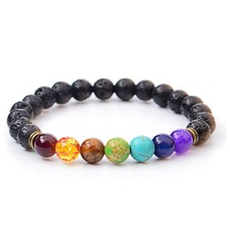 Wholesale Wedding Bangs - Volcano bracelet Fashion Wholesale Natural lava volcano, tiger eye, laips, amethyst stone with seven color stone Beaded Bracelet bang