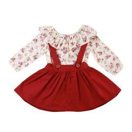 Wholesale best clothing style - Best Selling Children Girls Floral Printed Long Sleeve Shirt + Suspender Skirt 2pcs Sets Baby Kids Clothing Set