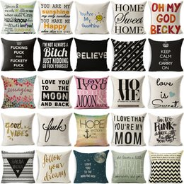 Wholesale funny pillowcases - New Fashion Funny Words Pillowcase Geometric Letter Pillow Cases Home Simple Colorful Words Love is Sweet Throw Pillow