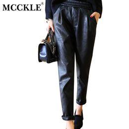 Wholesale Leather Harem Trousers - MCCKLE PU Leather Pants Women 2017 Autumn Elastic Waist Skinny Ankle Length Harem Pants Slim Faux Leather Trousers For Female