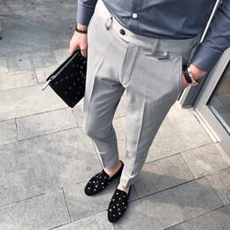 2019 серые формальные брюки Business Casual Men Pant Slim Fit Men Dress Pants Office Men's Social Trousers Formal Work Pantalon Costume black grey скидка серые формальные брюки