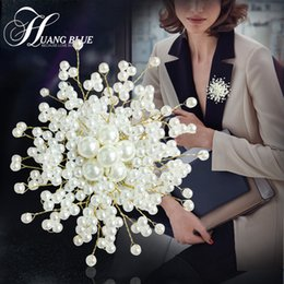 Wholesale Wild Flowers - Solid color imitation pearl brooch bridal jewelry wild coat jacket with accessories jewelry chest brooch flower pins