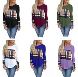 16df4fb937d Más el tamaño de las mujeres Plaid Paneles de manga larga T-shirt Otoño  Invierno Patchwork Camisas Blusas Casual Pullover Tops Ladies Girls  Camisetas Ropa