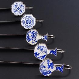 Style chinois En porcelaine bleue et blanche Marque-pages Lecture mentale Signet cadeaux culturels avec des caractéristiques chinoises Porcelaine Celadon ? partir de fabricateur