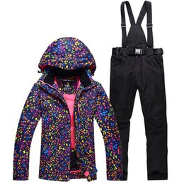Wholesale Cheap Girls Clothing Sets - Cheap Ski Suit Set Women Snowboarding Clothing Girl Snow costume Outdoor Sports Waterproof Thick Warm Snow jackets+pants Skiing