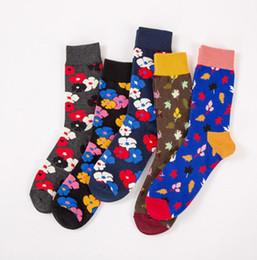Wholesale Happy Flowers - Most Popular Cozy Men fashion rose socks, Man Happy Socks With Flower Pattern Mix Colors