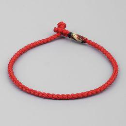 rote armbänder frauen Rabatt Glückliche Seil-Armband-Frauen-tibetanische buddhistische Handflochten-Knoten-blaue rote Farbseil-Armband-Männer
