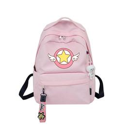 Lindas mochilas de anime online-Tarjeta Captor Sakura Anime Mochila Linda Mujeres Mochila Alas Imprimir Bolso de escuela del estudiante femenino para niñas adolescentes con colgante