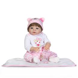 Wholesale Baby Full Month Gift - 55cm Full Body Silicone Reborn Baby Doll Toys Newborn Princess Girl Babies Dolls Gift Birthday Gift Kid Child Bathe Toy