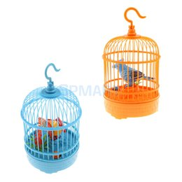 Wholesale Bird Cage Pet - 2Pcs Sound Voice Control Electric Bird Pet Toy Electric Simulation Induction Bird Cage Birdcage Kids Toys Gifts Garden Ornaments