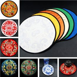 Wholesale Tea Cup China Wholesale - China Style Embroidery Drinks Coasters Round Flower Table Cup Mat Coffee Drink Placemat Cup Cushion Tea Cup Holder T3I0029