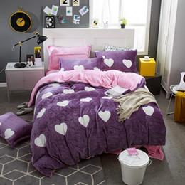 Wholesale king fleece sheet set - White Heart Shape Carol Flannel Fleece winter thick 4pcs bedding set(duvet cover flat sheet pillowcase) queen king size