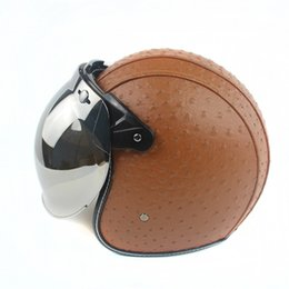 Wholesale Global Leather - 2017 The Global Hot Sales Vintage Leather Harley Helmets 3 4 High Quality Open Face Motorcycle Helmet Bubble Visor Lens WHBL052