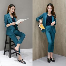 Корейский женский костюм онлайн-Fashion women's casual suit suit female South Korea 2018 new professional thin spring autumn and winter two-piece wild Slim