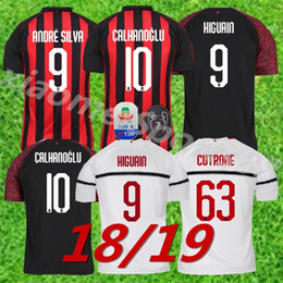 2019 AC Milan Home Soccer Jersey 18 19 AC Milan Soccer Shirt Customized 19  BONUCCI  10 CALHANOGLU  9 HIGUAIN football uniform Sales 32d9fd207