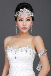 Tiara de diamante princesa online-Boda vintage Dama de honor nupcial Cristal Diamante de imitación Diamante Frente Accesorios para el cabello Borla Diadema Corona Tiara Princesa Tocado Plata