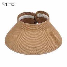 Wholesale Girls White Straw Hat - 2018 Summer Outdoor Women's Foldable Wide Large Brim Beach Sun Hat Girls Vacation Tour Hat Sun Beach Bowknot Cap 13 Color