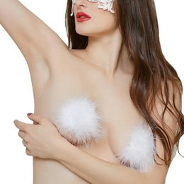 Wholesale Breasts Silicon - 2017 Womens Charming Sexy Breast Petals Adhesive Tassel Heart Bra Nipple Covers Pasties Silicon Feather 1 Pair New